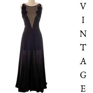 Vintage 70s Black Nylon Sweeping Negligee